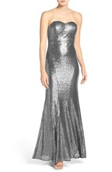 Lulus Women's Lulu's Strapless Sequin Mermaid Gown Matte Silver
