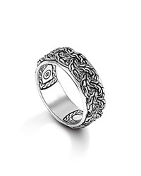 John Hardy Men's Classic Chain Silver Braided Chain Band Ring