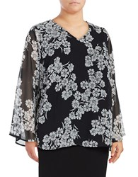Vince Camuto Plus Floral Print Long Sleeve Chiffon V Neck Blouse Black White