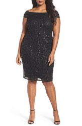 Adrianna Papell Plus Size Women's Embellished Off The Shoulder Cocktail Dress