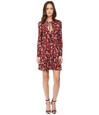 Just Cavalli Pin Up Printed Long Sleeve Runway Dress Red Variant