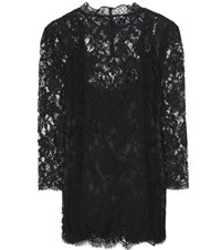 Dolce And Gabbana Cotton Blend Lace Blouse Black