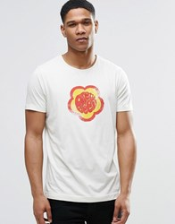 Pretty Green T Shirt With Flower Badge Print In White Stone