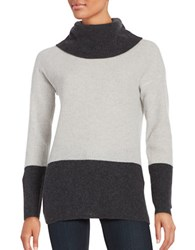 Lord And Taylor Colorblocked Cashmere Sweater Charcoal Heather