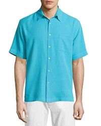 Neiman Marcus Short Sleeve Waffle Knit Silk Shirt Maui Blue