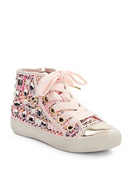 Ash Vanessa Embellished High Top Sneakers Pink