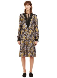 Lanvin Mid Length Metallic Floral Brocade Dress Black