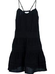 Frame Denim Embroidered Spaghetti Strap Dress Black