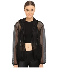 The Kooples Hooded Jacket In Mesh Black Women's Coat