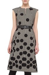 Women's Akris Punto Belted Houndstooth And Polka Dot Print Dress
