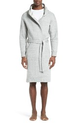 Wings Horns Men's Cabin Fleece Hooded Robe Heather Grey