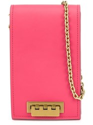 Zac Posen Small Elongated Crossbody Bag Pink Purple