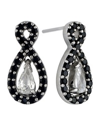 Lord And Taylor Sterling Silver And Two Tone Cubic Zirconia Pendant Earrings Black
