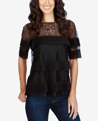 Lucky Brand Tiered Illusion Lace Top Black