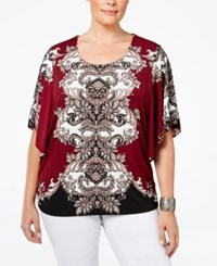 Jm Collection Plus Size Printed Butterfly Sleeve Top Only At Macy's Merlot Boho Baroque