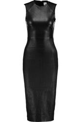 Iris And Ink Anastasia Stretch Leather Midi Dress Black