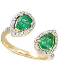 Rare Featuring Gemfields Certified Emerald 1 1 6 Ct. T.W. And Diamond 1 4 Ct. T.W. Teardrop Cuff Ring In 14K Gold Yellow Gold