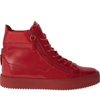 Giuseppe Zanotti Patent Hi Top Leather Trainers Red