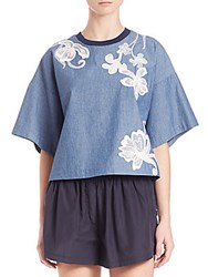 3.1 Phillip Lim Floral Embroidered Chambray Boxy Tee Indigo