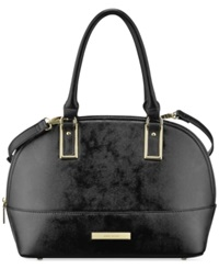 Anne Klein Shimmer Down Large Dome Satchel Black