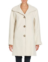 Ellen Tracy Wool Blend A Line Coat Ivory