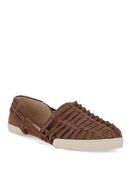 Elliott Lucca Rani Woven Leather Flats Chocolate