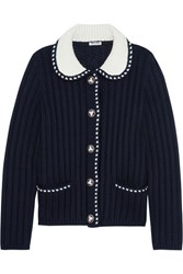 Miu Miu Two Tone Wool Cardigan Midnight Blue