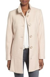 Kensie Women's Single Breasted Ruffle Hem Coat Nude