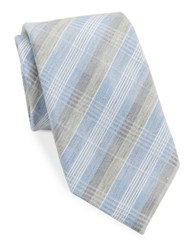 Vince Camuto Plaid Silk Blend Tie Blue