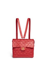 Wgaca Vintage Chanel Quilted Lambskin Leather Flap Bag Red