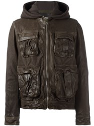 Neil Barrett Hooded Leather Jacket Green