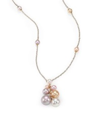 Majorica 5Mm 12Mm White Nuage And Pink Round Pearl Cluster Necklace Multi