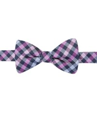 Countess Mara Navy Gingham Pre Tied Bow Tie