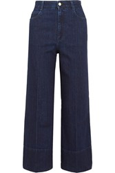 Stella Mccartney Cropped High Rise Flared Jeans Dark Denim