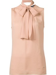 Dsquared2 Sleeveless Pussybow Blouse Pink Purple