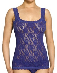 Hanky Panky Plus Floral Lace Unlined Camisole Midnight Blue