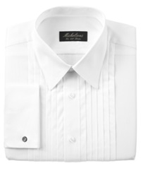Michelsons Of London Pleated Point French Cuff Tuxedo Shirt White