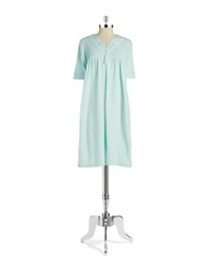 Miss Elaine Floral Accented Waffle Knit Nightgown Bright Aqua