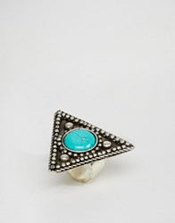 Asos Old Triangle Stone Ring Turquoise Blue