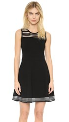 Milly Invisible Stripe Flare Dress Black