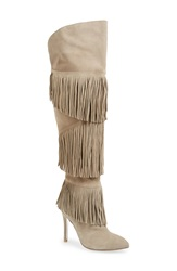 Kristin Cavallari 'Change' Over The Knee Fringe Boot Women Grey Suede