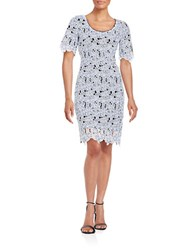 Belle By Badgley Mischka Crochet Overlay Dress Ivory Multi