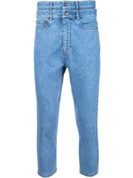 Y Project Stacked Cropped Jeans Blue