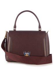 Anya Hindmarch Bathurst Space Invaders Leather Tote Burgundy