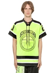 Astrid Andersen Logo Printed Jersey And Mesh T Shirt