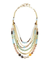 Nakamol Pastel Agate And Crystal Beaded Bib Necklace Women's