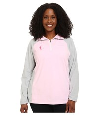 Columbia Plus Size Tested Tough In Pink Fleece Half Zip Isla Cool Grey Women's Long Sleeve Pullover