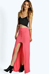 Boohoo Dip Hem Button Through Maxi Skirt Coral
