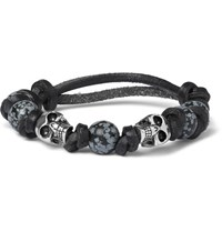 Alexander Mcqueen Leather Bead And Silver Tone Skull Bracelet Black