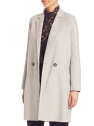 Set Double Breasted Virgin Wool Blend Coat Light Grey